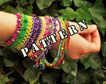 Pattern, tutorial, beaded cuff bracelet, statement jewelry, crochet wrist band, crochet pattern, loose bracelets,  Emily