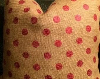 Pink Polka Dot Burlap Pillow