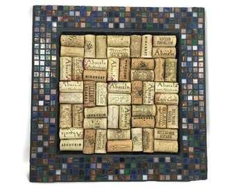 Mosaic Wine Cork and Bulletin Board in Exotic Square