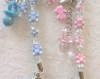 Baby boy or Baby Girl keyring or bag charm~baby bag charm~pram charm~changing bag charm~new mum~unpersonalised