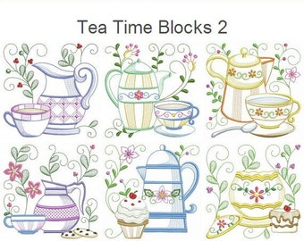 Tea Time Blocks 2 Machine Embroidery Designs Pack Instant Download 4x4 5x5 6x6 hoop 12 designs APE2339