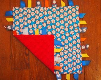 Baby Tag Blanket- Baseballs