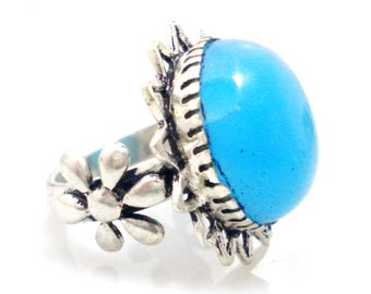 10% OFF!Natural Chalcedony stone 925 Sterling Silver Overlay Ring, Silver plated Ring, round Shape Ring, partywear ring, gemstone ring