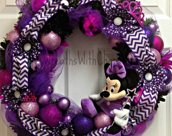 Disney Inspired Minnie Mouse Purple Princess Decorative Party Wreath