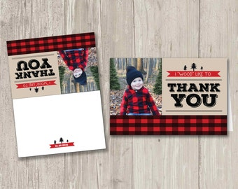 "Lumberjack Thank You Cards, I ""Wood"" Like to Thank You Digital File"