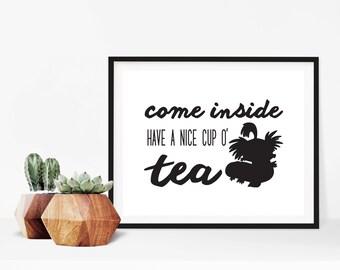 Labyrinth Worm Tea Quote Digital Print