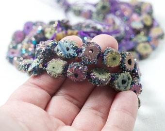 Druzy slice beads titanium coated purple green blue stunning rare unique druzy beads druzy strand druzy slice beads crystal druzy 8-12mm