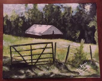 Farm Down The Road - 9x12 acrylic