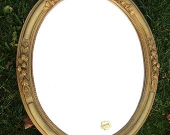 Vintage Oval Mirror Hollywood Regency Style Ornate Flowers Vanity Marked