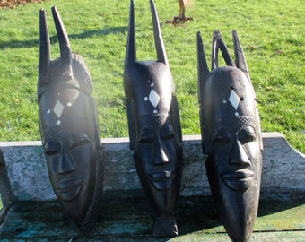 3 Vintage African Masks Hand Made Carved Dark Wood Authentic Tribal African Art