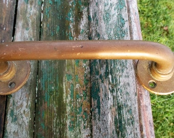 Vintage cabinet Door Drawer Pull Push Handle Brass Reclaimed