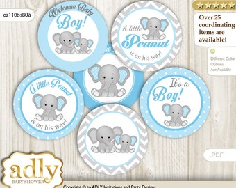 Boy Elephant Cupcake Toppers for Baby Shower Printable DIY, favor tags, circles, It's a Boy, Chevron- oz110bsB0