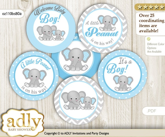 Boy Elephant Cupcake Toppers For Baby Shower Printable Diy