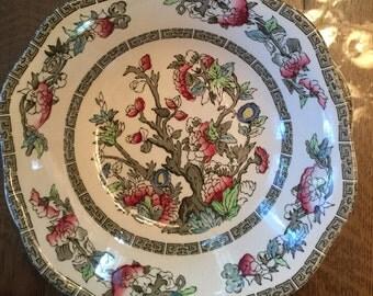 "lot 4 Johnson Bros Indian Tree squarish Bowls 7 1/4"" Polychrome transferware"