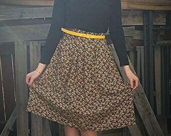 Vintage Handmade 1950s Midi Floral Skirt