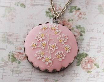 Pale pink necklace, Pink floral Necklace, Pink Bridesmaid Necklace, blush pink necklace, Pink Wedding, light pink necklace, soft pink