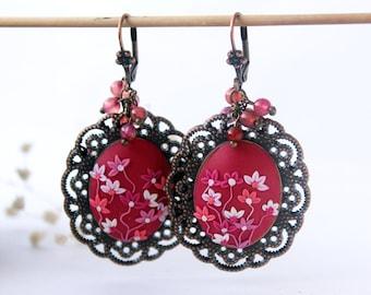Magenta earrings, polymer clay earrings, purple earrings, hot pink earrings, pink flower earrings, oversized earrings, fuchsia earrings