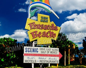 ICONIC  Pensacola Beach Sign with Blue Angels