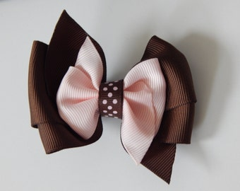 Brown and Cream Hair Bow
