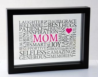 Mom Word Art in Floating Frame