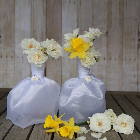 6 bridal dresses flower vase centerpieces great for bridal for Wedding dress vase centerpiece