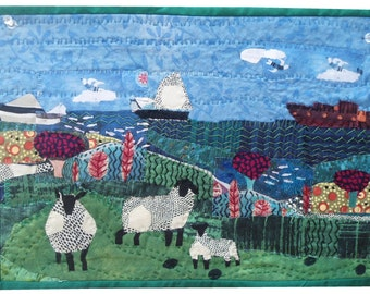 """Fibre art, Fabric collage  25 FISH AND 3 SHEEP  10.5""""x15.5"""""""