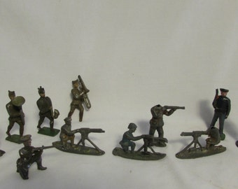 Military Figurines, Meatl, Hand Cast, Hand Painted, Mix & Match Lot of Eleven, 1920's