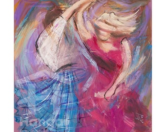 Pink Mist by Janet McCrorie, Giclée Fine Art Print, Signed, Limited Edition, Scottish Dancing