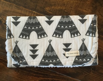 Gray Teepee Burp Cloth