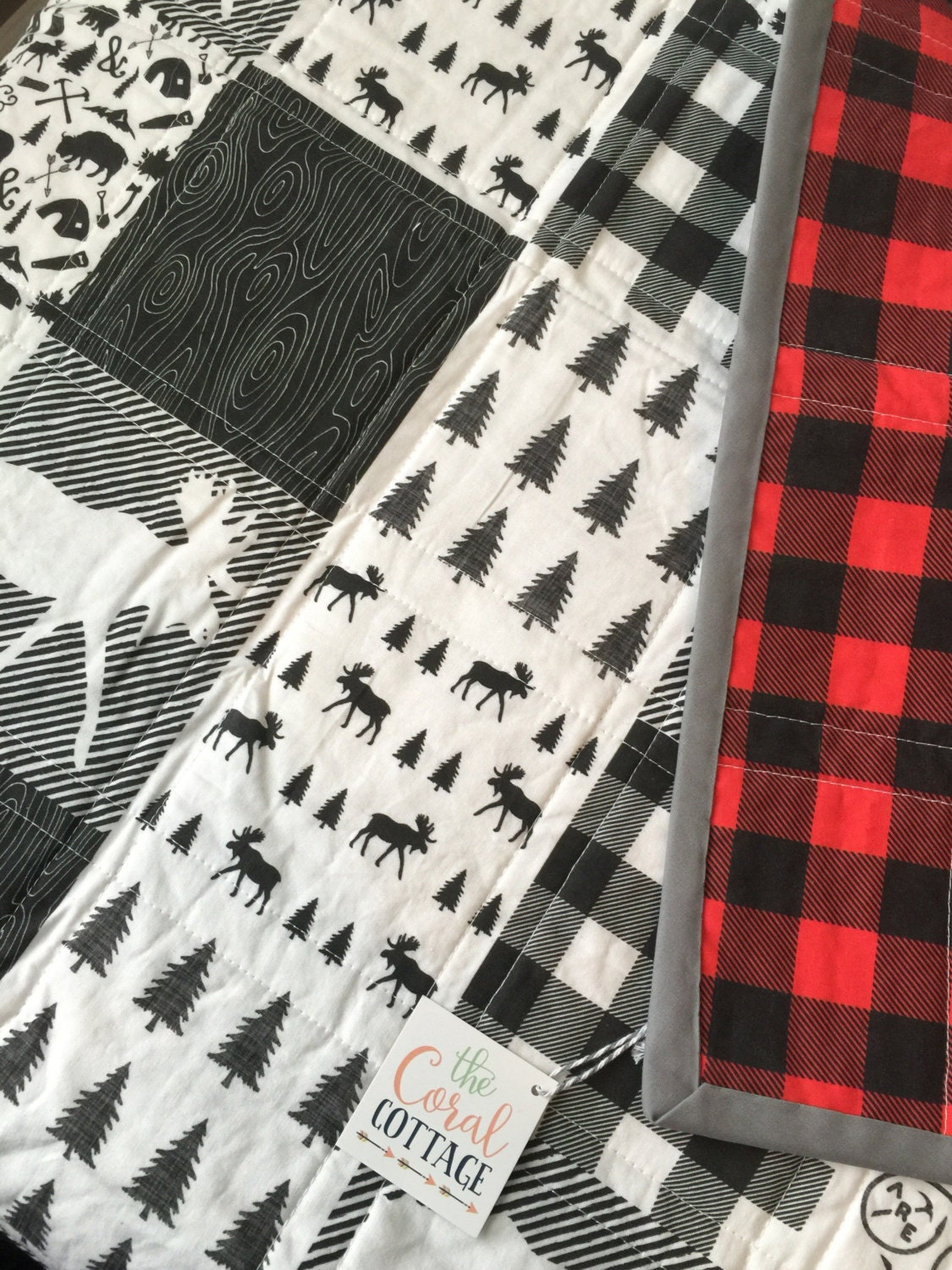 Plaid Baby Quilt: Woodland Baby Quilt Buffalo Plaid