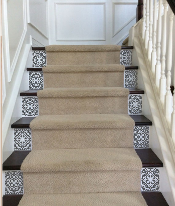 Ornate Vinyl Tile Decals For Carpeted Stairs Decals By