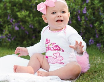 MudPie Monogrammed Bunny Tutu Crawler, Baby girl Outfit, Babie's First Easter, Tutu, Easter Onesie