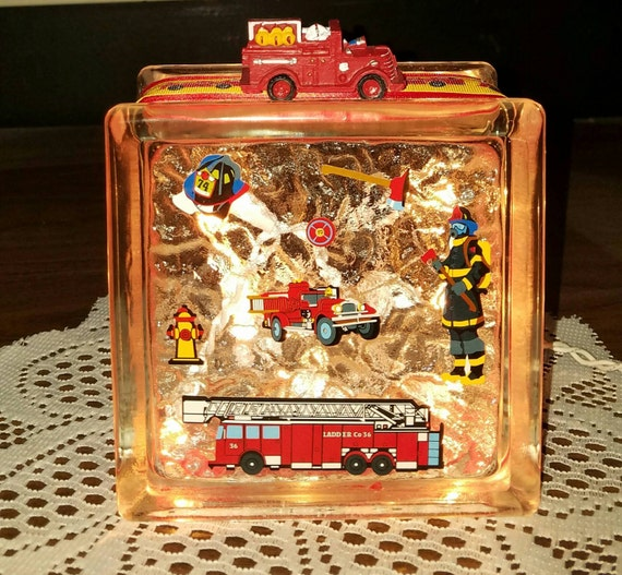 FIRE FIGHTER And Fire Truck Theme Lighted Glass Block