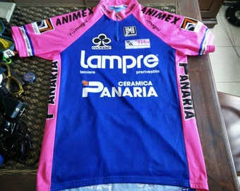 Rare early 90's LAMPRE PANARIA authentic santini jersey made in italy, one of the greatest cycling team ever