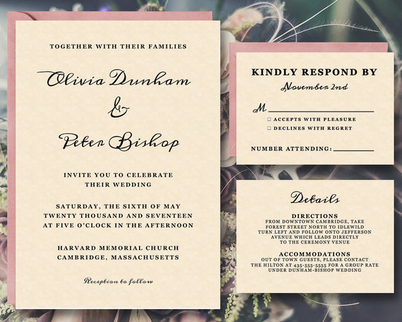 Wedding Invitation Suite Templates: 25% OFF Printable Wedding Invitation Template Suite