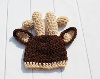 Crochet Baby Hat, Crochet Deer Hat, Baby Deer Hat, Newborn Deer Hat, Newborn Baby Hat, Hunting Baby Hat, Newborn  Photo Prop