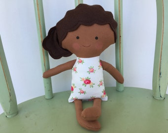 Biracial, handmade rag doll, perfect for imaginative play!