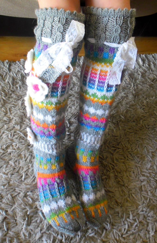 Knitting Pattern For Leg Socks : Hand knit knee socks. House knee socks. Flower knee socks.