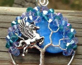 Mystical Pegasus Moon Tree of Life pendant