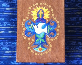 """Wooden Prayer and Blessing Box - FREE SHIPPING -  with colored pencils and paper - Original art print """"Cross of Peace"""" embellishing lid"""