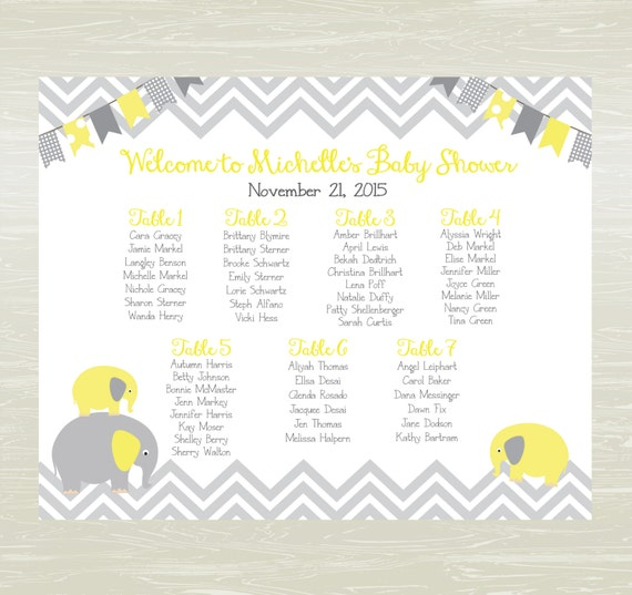 Baby Shower Seating: Baby Shower Seating Chart Chevron Any Theme DIGITAL OR