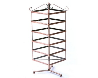 6 Tier Rotating Jewelry Display Stand Earring Necklace Holder Organizer Classic Jewelry Holder, 280 Earrings Holes, Jewelry Stand Organizer