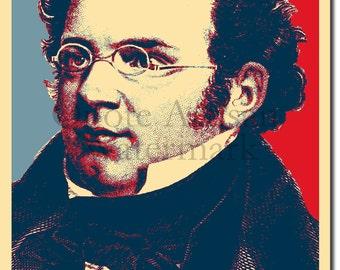 Franz Schubert Original Art Print - 12x8 Inch Photo Poster Gift - Obama Hope Parody