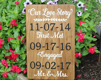 Our Love Story Sign for Wedding / Stained Our Story Wood Sign with Important Dates