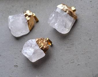Raw Rough Natural Clear Quartz Pendant Rock Crystal Quartz Mineral Charms Healing Crystal