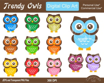 Owl, Trendy Owl, Owls, Trendy Owls, Commercial Personal Use Instant Download