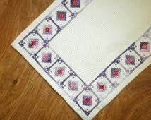 Vintage  Scandinavian Cross Stitched Tablecloth, Swedish small Table Topper, Embroidered textile 1960s, geometric pattern