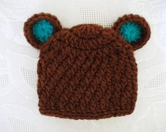 Baby bear hat Brown newborn hat Baby boy hat Newborn bear hat Baby hat with ears Baby animal outfit Newborn winter hat Coming home hat
