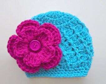 Crochet baby hat, turquoise baby hat, newborn girl hat, newborn hat,  baby girl hat, newborn girl beanie, crochet newborn hat