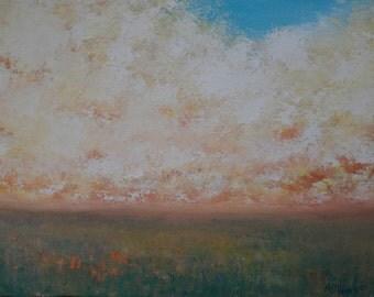 Original Oil Prairie Painting Landscape Cloud Painting Orange Flowers by Faith Patterson